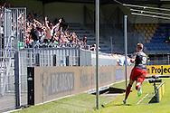 WAALWIJK, RKC Waalwijk - Excelsior Rotterdam, voetbal play-off promotie / degradatie, seizoen 2013-2014, 18-05-2014, Mandemakers Stadion, Excelsior speler Lars Veldwijk (R) heeft de 0-1 gescoord, Excelsior supporters juichen.