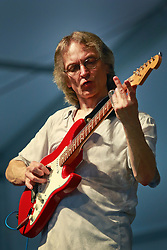 26 April 2014. New Orleans, Louisiana.<br /> Sonny Landreth plays the New Orleans Jazz and Heritage Festival. <br /> Photo; Charlie Varley/varleypix.com