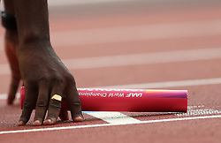 A general view of a baton during day nine of the 2017 IAAF World Championships at the London Stadium.
