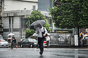 Man walking under the rain. Typhoon number 10 called Lionrock hit japan early on morning, in Tokyo. 30/08/2016-Tokyo, JAPAN