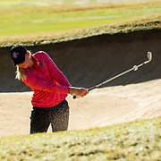 28 March 2018: Georgia Lacey hits out of the green side bunker on the tenth hole during the final round of match play against UCLA at it's annual March Mayhem Tournament at the Farms Golf Club in Rancho Santa Fe, California.<br /> More game action at sdsuaztecphotos.com