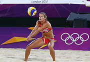 TEST Great Britain's Zara Dampney returns the serve during the lucky loser women's match between Austria's Schwaiger D/Schwaiger S and Great Britain's Mullin/Dampney