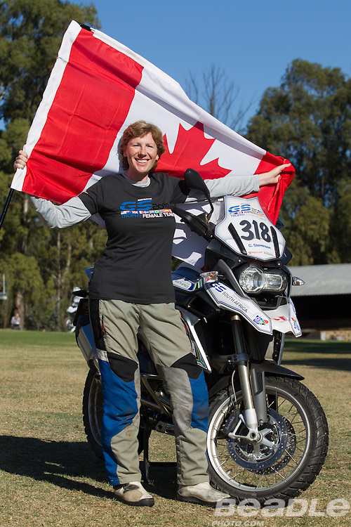 Caroline Stevenson from Canada participating in the inaugural GS Trophy Female qualifying event at the 2015 BMW Motorrad GS Trophy Female Team Qualifying Event held at Countrytrax Amersfoort, South Africa. Image by Greg Beadle