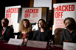 © London News Pictures. 18/03/2013 . London, UK.  Jacqui Hames (centre) speaking at a news conference held by members of The Hacked Off campaign in London on March 18, 2013 the three main political parties said they had reached a deal on press regulation. Photo credit : Ben Cawthra/LNP