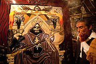 Santa Muerte (Saint Death) has been regarded as a religious cult by the Catholic Church,The cult has been closely linked to the lower classes,most prayers and other rites are practiced privately at home, Recently worship has become more public, especially in Mexico city.