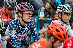 HONSINGER Clara (USA) at the start of Women Elite race, 2019 UCI Cyclo-cross World Cup Heusden-Zolder, Belgium, 26 December 2019.<br /> <br /> Photo by Pim Nijland / PelotonPhotos.com <br /> <br /> All photos usage must carry mandatory copyright credit (Peloton Photos   Pim Nijland)