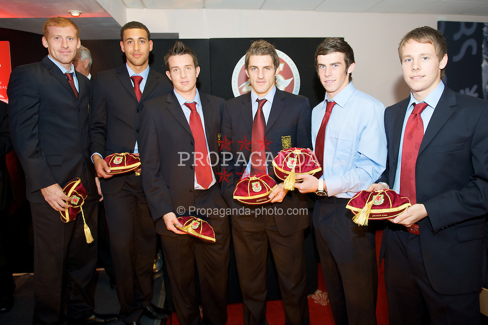 CARDIFF, WALES - Tuesday, October 7, 2008: Wales' players recieve their caps at the Brains Beer Wales Football Awards at the Millennium Stadium. L-R: James Collins, Lewin Nyatanga, Lewis Price, Sam Ricketts, Gareth Bale, Chris Gunter. (Photo by David Rawcliffe/Propaganda)