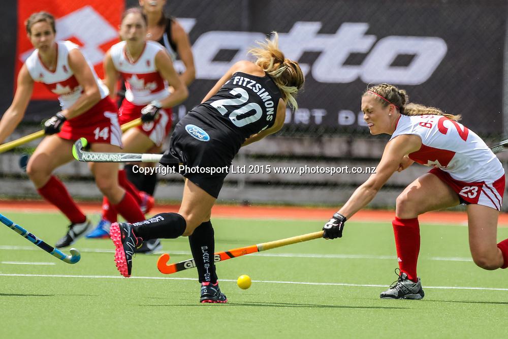 Natasha Fitzsimons hits through the Canadians. International Womens Hockey. New Zealand Black Sticks v Canada. Whangarei. New Zealand. Sunday 8 February 2015. Copyright Photo: Heath Johnson / www.photosport.co.nz