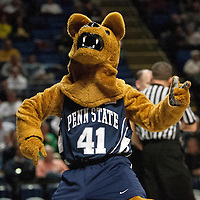 The Nittany Lion mascot entertains the crowd during the first half of an NCAA basketball game in Unversity Park, Pa., Wedneday, February 27, 2013.