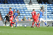 Gillingham Midfielder, Jake Hessenthaler (8) shoots during the EFL Sky Bet League 1 match between Oldham Athletic and Gillingham at Boundary Park, Oldham, England on 14 April 2018. Picture by Mark Pollitt.