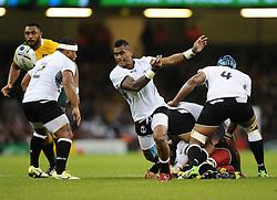 Fiji Scrum-Half Nikola Matawalu passes  - Mandatory byline: Joe Meredith/JMP - 07966386802 - 23/09/2015 - Rugby Union, World Cup - Millenium Stadium -Cardiff,Wales - Australia v Fiji - Rugby World Cup 2015 - Pool A
