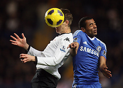 10.11.2010, Stamford Bridge, London, ENG, PL, FC Chelsea vs FC Fulham, im Bild Ashley Cole of Chelsea and Fulham's Zoltan Gera    during Chelsea fc vs  Fulham fc for the EPL at Stamford Bridge in London on 10/11/2010. EXPA Pictures © 2010, PhotoCredit: EXPA/ IPS/ Marcello Pozzetti +++++ ATTENTION - OUT OF ENGLAND/UK +++++
