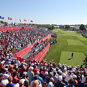 Ryder Cup 2016. Day One. Rafa Cabrera Bello of Europe tees off at the first hole in the Friday afternoon four ball during the Ryder Cup competiton at the Hazeltine National Golf Club on September 30, 2016 in Chaska, Minnesota.  (Photo by Tim Clayton/Corbis via Getty Images)
