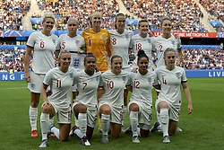 June 27, 2019 - Le Havre, France - Line-up of England (L-R) Millie Bright (Chelsea FCW), Steph Houghton (Manchester City WFC), Karen Bardsley (Manchester City WFC), Jill Scott (Manchester City WFC), Ellen White (Birmingham City WFC), Lucy Bronze (Olympique Lyon), Toni Duggan (FC Barcelona), Nikita Parris (Manchester City WFC), Fran Kirby (Chelsea FCW), Demi Stokes (Manchester City WFC) and Keira Walsh (Manchester City WFC) during the 2019 FIFA Women's World Cup France Quarter Final match between Norway and England at  on June 27, 2019 in Le Havre, France. (Credit Image: © Jose Breton/NurPhoto via ZUMA Press)