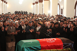 61197477<br /> Afghan president Hamid Karzai (C second row) prays during funeral ceremony for Afghan Vice President Marshal Mohammad Qasim Fahim, at the Presidential Palace in Kabul, Afghanistan on March 11, 2014. The state funeral service for Afghan First Vice President Marshal Mohammad Qasim Fahim was held amid tight security in the Presidential Palace on Tuesday, 11th March 2014. Picture by  imago / i-Images<br /> UK ONLY