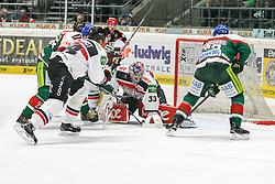 12.12.2014, Curt Fenzel Stadion, Augsburg, GER, DEL, Augsburger Panther vs Koelner Haie, 26. Runde, im Bild l-r: im Zweikampf, Aktion, mit Ivan Ciernik #27 (Augsburger Panther), Daniel Tjaernqvist #34 (Koelner Haie), Danny aus den Birken #33 (Koelner Haie) und Louie Caporusso #23 (Augsburger Panther) // during Germans DEL Icehockey League 26th round match between Augsburger Panther vs Koelner Haie at the Curt Fenzel Stadion in Augsburg, Germany on 2014/12/12. EXPA Pictures © 2014, PhotoCredit: EXPA/ Eibner-Pressefoto/ Kolbert<br /> <br /> *****ATTENTION - OUT of GER*****
