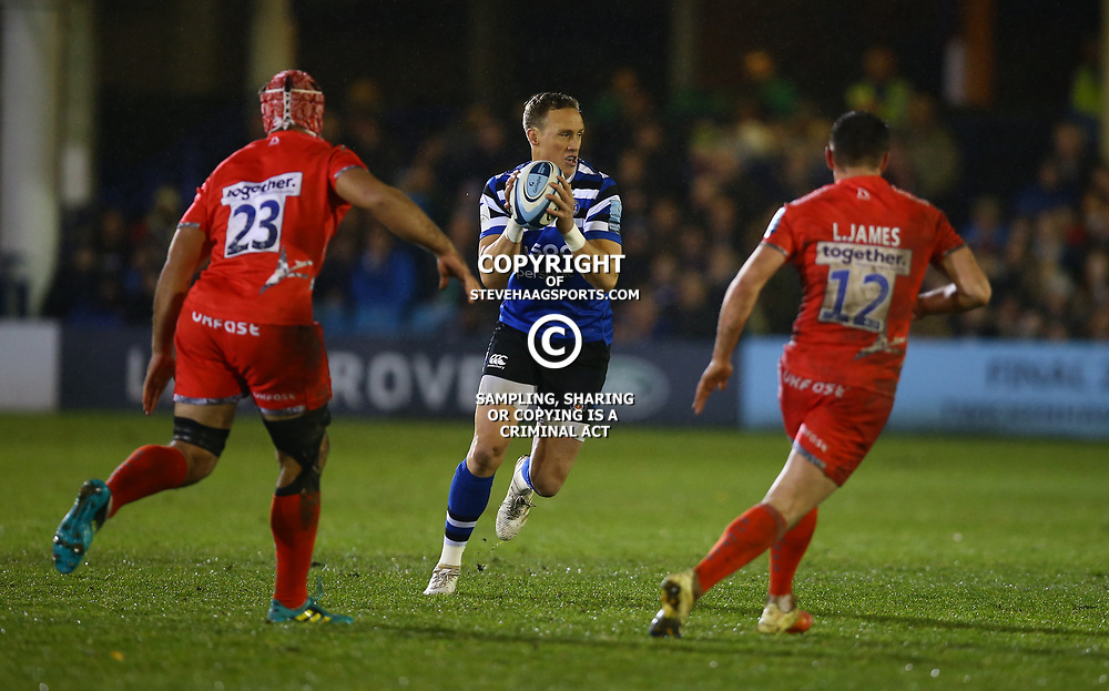 Will Chudley of Bath Rugby during the Gallagher Premiership match between Bath Rugby and Sale Sharks at the The Recreation Ground Bath England.2nd December 2018,(Photo by Steve Haag Sports)