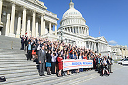 Participants in the Rally for Medical Research Hill Day pose for a group photo before they set out to visit members of Congress to urge them to stop the cuts to funding for medical research at the National Institute of Health.  American Association For Cancer Research Cancer and other groups have gathered in DC to urge policymakers and other relevant stakeholders to intensify their efforts in supporting medical research and biomedical science, particularly in these challenging fiscal times and with the recent enactment of sequestration.  (Photo by Alan Lessig )