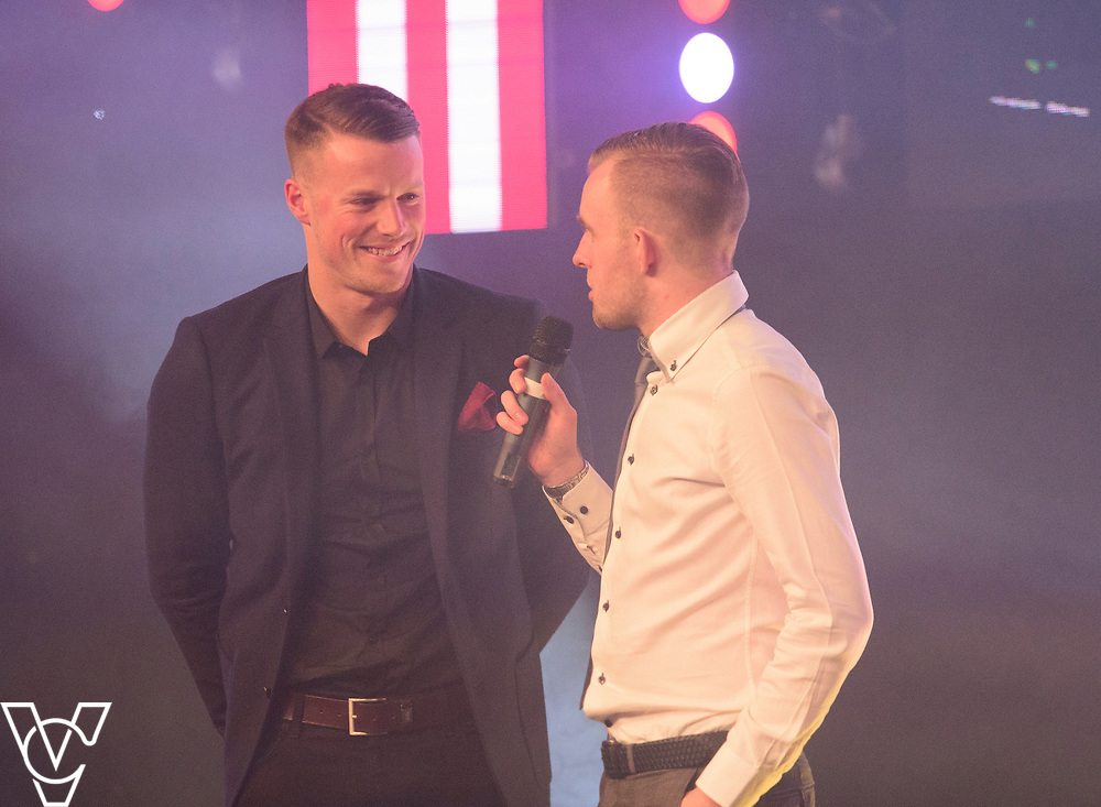 Paul Farman being interviewed by Rob Makepeace on winning the Community Plyer of the Season award<br /> <br /> Lincoln City Football Club's 2016/17 End of Season Awards night - Champions Seasons Awards Dinner - held at the Lincolnshire Showground.<br /> <br /> Picture: Andrew Vaughan for Lincoln City Football Club<br /> Date: May 20, 2017 Champions Seasons Awards Dinner: