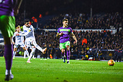 Pablo Hernandez of Leeds United (19) assists the opening goal to make the score 1-0 during the EFL Sky Bet Championship match between Leeds United and Bristol City at Elland Road, Leeds, England on 24 November 2018.