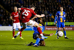 Tommy Rowe of Bristol City is tackled by Ro-Shaun Williams of Shrewsbury Town - Rogan/JMP - 14/01/2020 - Montgomery Waters Meadow - Shrewsbury, England - Shrewsbury Town v Bristol City - Emirates FA Cup Third Round Replay.
