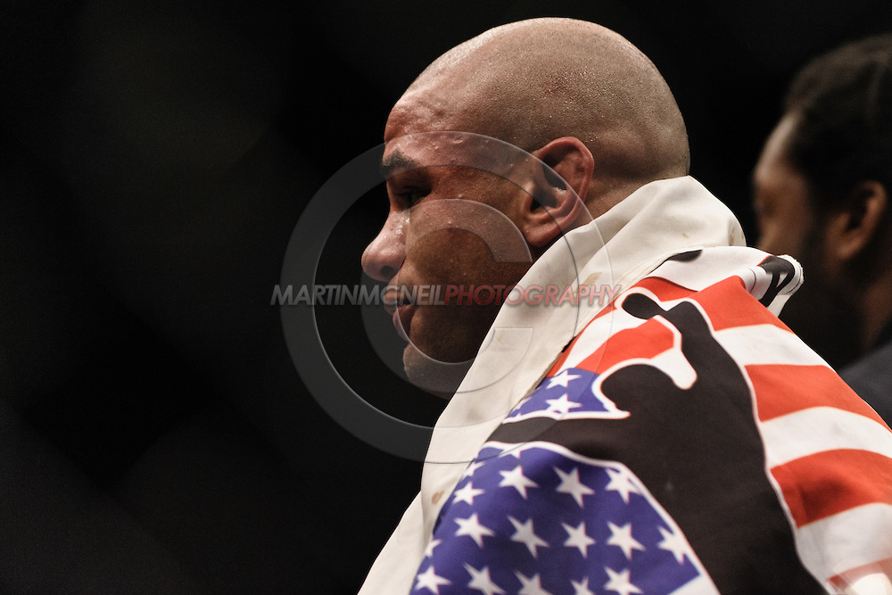 "LONDON, ENGLAND, JUNE 7, 2008: Thiago Alves stands in the center of the octagon as he awaits the official announcement of his victory at ""UFC 85: Bedlam"" inside the O2 Arena in Greenwich, London on June 7, 2008."