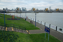 © Licensed to London News Pictures. 09/02/2014. The Thames Barrier has closed again this morning in response to high water levels. It is has exceeded the previous record for the number of closures in a flood season, previously set in 2000/2001. Flood seasons are defined by the Enviroment Agency as September - April. The previous record was 24 flood defence closures but the 25th closure of this season happened last night and the 26th closure occured this morning. This morning's closure was the 24th of 2014. The previous highest number of closures in one calendar year was 19 in 2003. Credit : Rob Powell/LNP