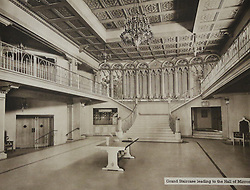 © Licensed to London News Pictures. 10/10/2013. A Grade-II listed former theatre in Woolwich is being restored to its former glory by a London based church. This photo of the foyer and Grand Staircase comes from a promotional brochure produced at the time of its opening in 1937. Photo used with permission of Greenwich Heritage Centre. More copy at: http://www.greenwich.co.uk/woolwichgranada.txt  Credit : Rob Powell/LNP
