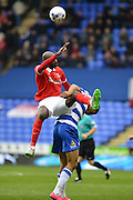 Charlton Athletic midfielder Alou Diarra jumps for the header  during the Sky Bet Championship match between Reading and Charlton Athletic at the Madejski Stadium, Reading, England on 17 October 2015. Photo by Mark Davies.