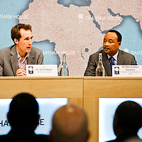 Dr. David Styan (left) and HE Mahamadou Issoufou, President of the Republic of Niger (right),  during the ?Niger?s Growing Regional and International Importance? conference at Chatham House.