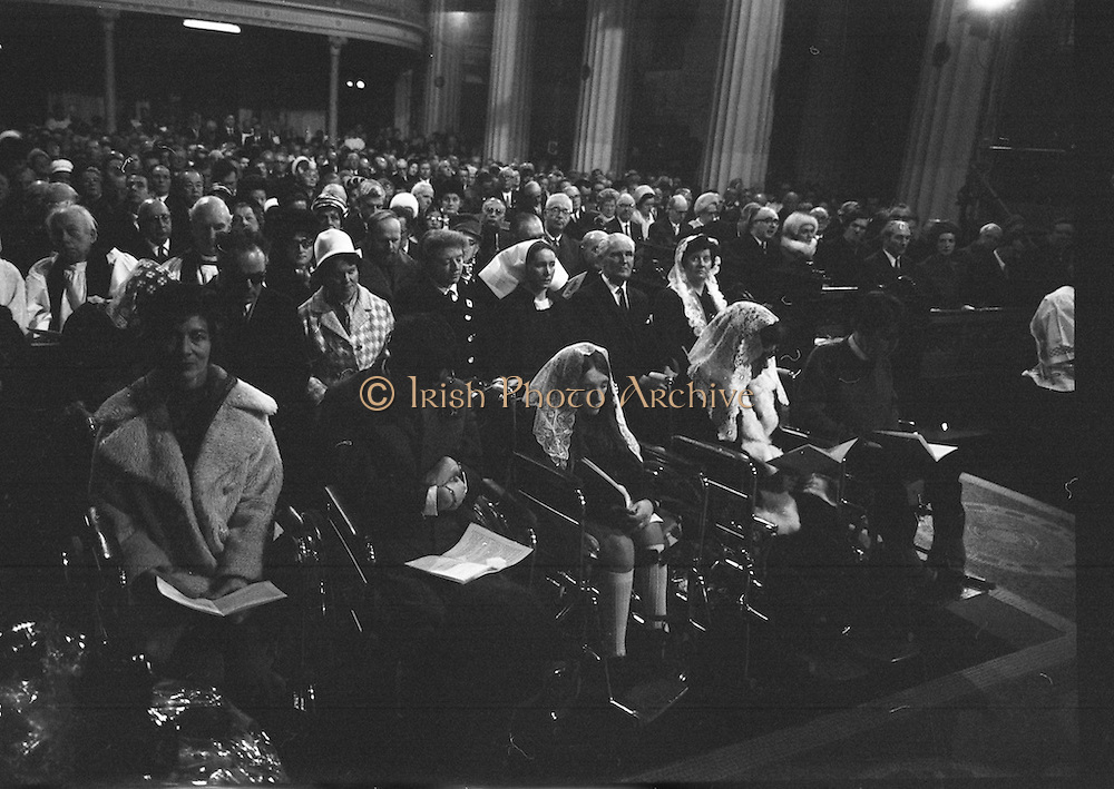 Archbishop Ryan Installed as Archbishop of Dublin..1972..27.02.1972..02.27.1972..27th February 1972..The installation of the Most Rev Dr Dermot Ryan as Archbishop of Dublin took place in The pro Cathedral,Dublin on Sunday 27th Feb 1972..Picture of the congregation listening to the lesson which was read by An Taoiseach Mr Jack Lynch TD.