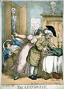The Anatomist' cartoon by Rowlandson published 1811, showing terror of patient and wife as surgeon opens bag of instruments. They have seen poster on wall & fear patient will die and be used for anatomical demonstration. Engraving