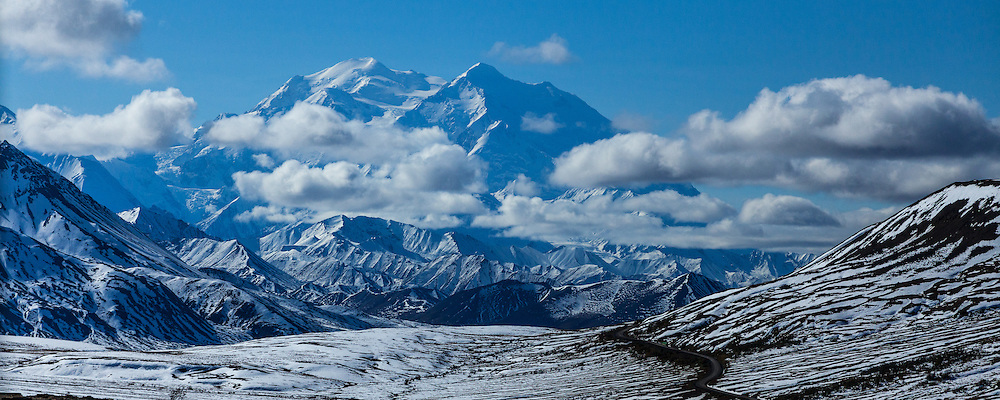 An early autumn snowfall blackets the landscape at the foot of Denali.