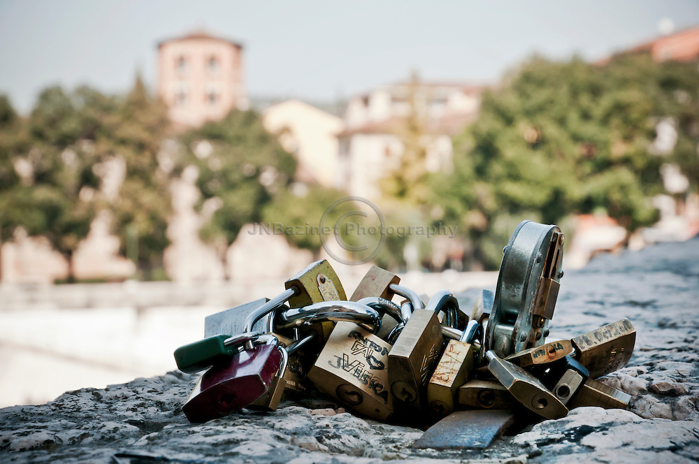 Padlocks of love are symbolic of everlasting love, Verona Italy.
