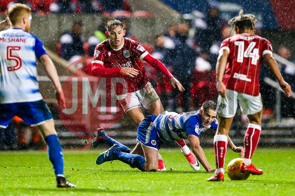 Josh Brownhill passes to Bobby Reid of Bristol City as David Edwards of Reading looks on - Rogan/JMP - 26/12/2017 - Ashton Gate Stadium - Bristol, England - Bristol City v Reading - Sky Bet Championship.