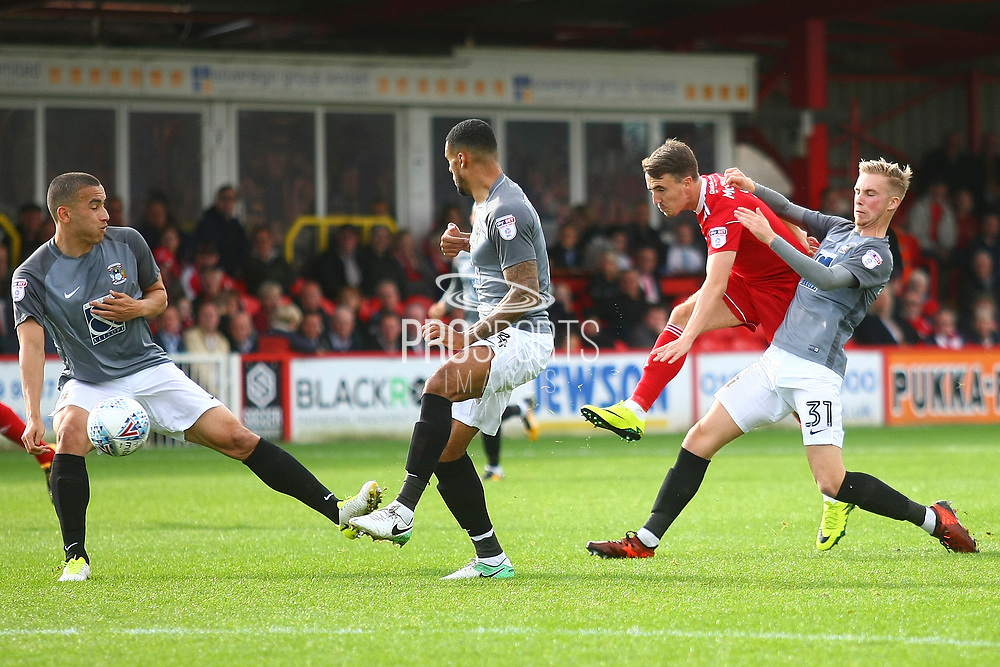 Accrington Stanley's Sean McConville (11) shoots during the EFL Sky Bet League 2 match between Accrington Stanley and Coventry City at the Fraser Eagle Stadium, Accrington, England on 14 October 2017. Photo by John Potts.