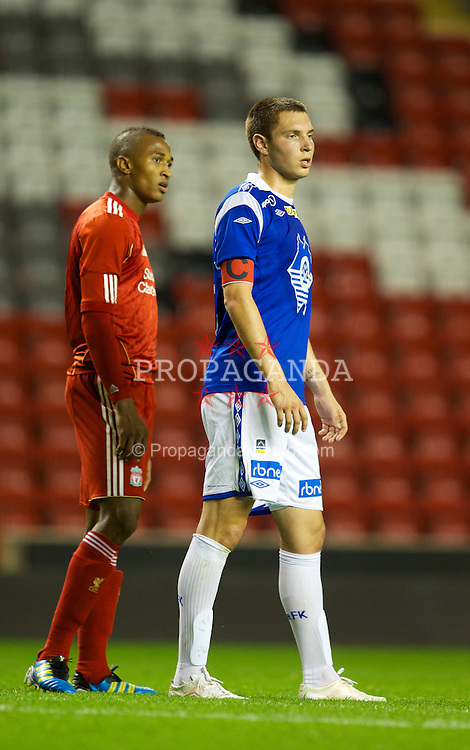 LIVERPOOL, ENGLAND - Thursday, September 29, 2011: Molde FK's captain Sean Cunningham during the NextGen Series Group 2 match at Anfield. (Pic by David Rawcliffe/Propaganda)