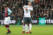 Zlatan Ibrahimovic Forward of Manchester United celebrates his goal 0-2 with Paul Pogba Midfielder of Manchester United during the Premier League match between West Ham United and Manchester United at the Stadium Queen Elizabeth Olympic Park, London, United Kingdom on 2 January 2017. Photo by Phil Duncan.