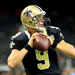 Oct 30, 2016; New Orleans, LA, USA; New Orleans Saints quarterback Drew Brees (9) before a game against the Seattle Seahawks at the Mercedes-Benz Superdome. Mandatory Credit: Derick E. Hingle-USA TODAY Sports