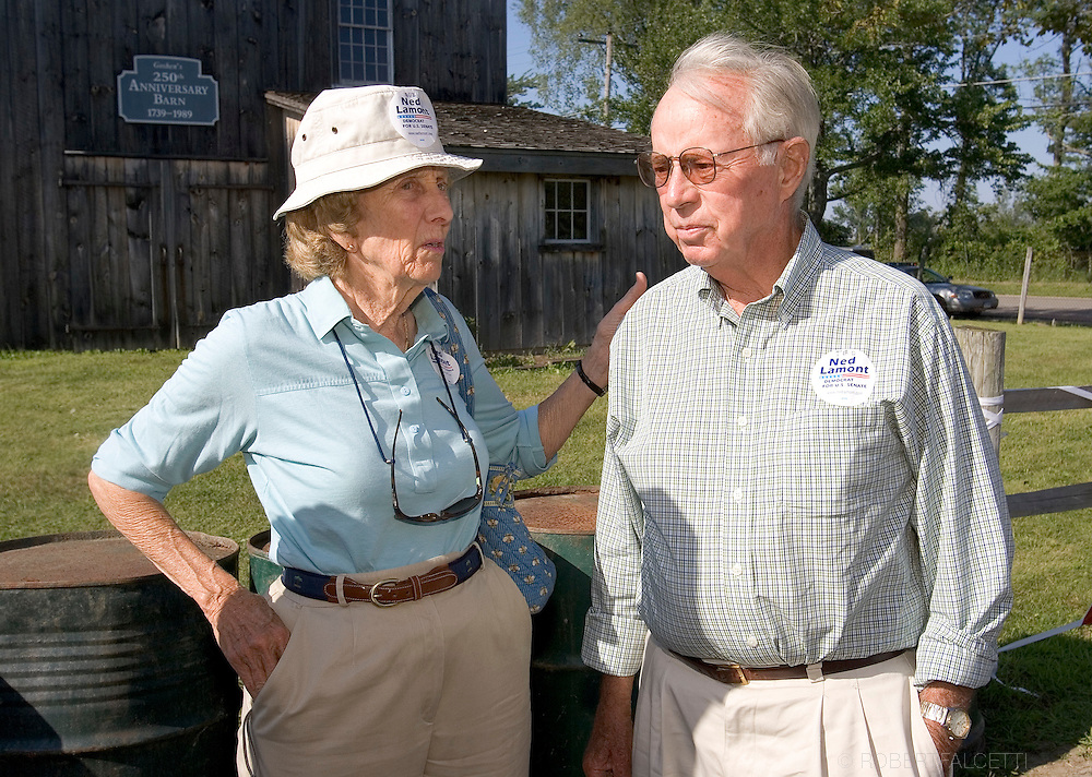 GOSHEN, CT - AUGUST 5:  Buz (cq), left, and Ted Lamont, parents of Greenwich, CT businessman Ned Lamont, stand outside the gate of the Litchfield Jazz Festival August 5, 2006 in Goshen, Connecticut. Lamont and his supporters including actor Danny Glover and California Congreeswoman Mazine Waters were first told they would not be allowed to enter the festival by organizer Vita Muir. Muir later said they could enter and enjoy the jazz, but not campaign. Lamont is in a heated race for the Connecticut democratic nomination for Senate against Sen. Joe Lieberman. (Photo by Bob Falcetti/Getty Images)