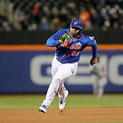 NEW YORK, NEW YORK - APRIL 11: Yoenis Cespedes, New York Mets, running to third base during the Miami Marlins Vs New York Mets MLB regular season ball game at Citi Field on April 11, 2016 in New York City. (Photo by Tim Clayton/Corbis via Getty Images)