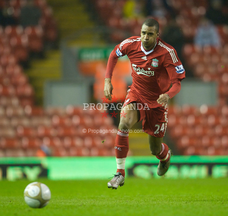 LIVERPOOL, ENGLAND - Wednesday, January 13, 2010: Liverpool's David Ngog in action against Reading during the FA Cup 3rd Round replay match at Anfield. (Photo by: David Rawcliffe/Propaganda)