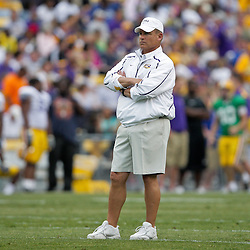 18 April 2009: LSU Tigers head coach Les Miles watches his team on the field during the 2009 LSU spring football game at Tiger Stadium in Baton Rouge, LA.