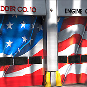 American Flag painted on doors of NY Fire Dept Lsdder Company 10 Engine Company 10 in lower Manhattan.