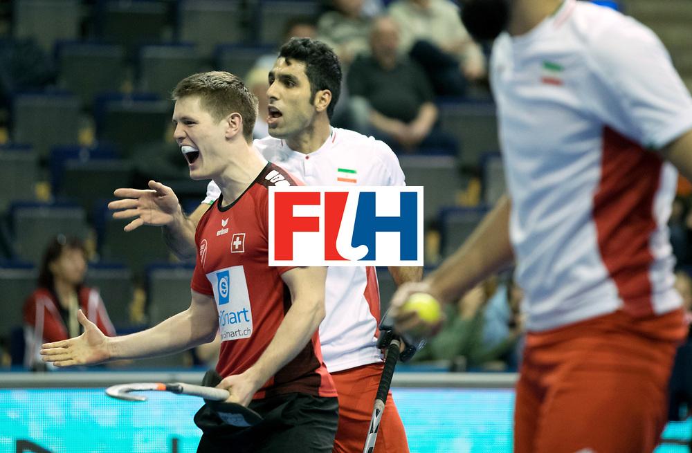 BERLIN - Indoor Hockey World Cup<br /> Men: Iran - Switzerland<br /> foto: STOMPS Boris celebrates.<br /> COPYRIGHT WILLEM VERNES