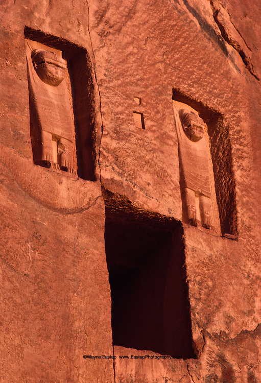 To honor their dead, Lihyanites of Kingdom of Dedan carved lion reliefs above sandstone tombs in 600 B.C. Al-Ula, Saudi Arabia