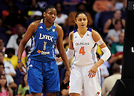 Sep 11, 2011; Phoenix, AZ, USA; Minnesota Lynx  center Jessica Adair (1)  and Phoenix Mercury forward Candice Dupree react on the court at the US Airways Center.  The Lynx defeated the Mercury 96-90. Mandatory Credit: Jennifer Stewart-US PRESSWIRE