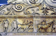 Ara Pacis (Altar of Augustan Peace), Rome, consecrated in 9 BC. Cattle being led to sacrifice.   Religion Ancient Roman