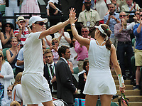 Tennis - 2017 Wimbledon Championships - Week Two, Thursday [Day Ten]<br /> <br /> Mixed Doubles, Semi Final match<br /> <br /> Jamie Murray (GBR) and Martina Hingis (SUI) vs. Ken Skupski (GBR) and Jocelyn Rae (GBR)<br /> <br /> Jamie Murray and Martina Hingis after winning the match on  Centre Court <br /> <br /> COLORSPORT/ANDREW COWIE