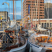 Some of the Historic Boats display, made up of boats that have been in Tasmanian waters for the last 100 years. Tall Ships Festival 2013, Hobart, Tasmania, Australia